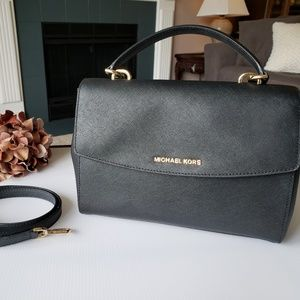 Michael Kors Black Ava Satchel MD Bag